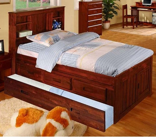 TWIN BOOKCASE HEADBOARD CAPTAIN BED W/TRUNDLE + 3 DRAWERS-2820