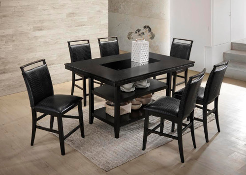 7 PCS BLACK CROCODILE PUB DINING SET-TOMMY