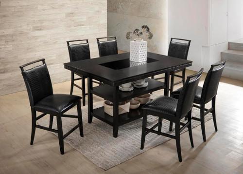 7 PCS BLACK CROCODILE PUB DINING SET-TOMMY