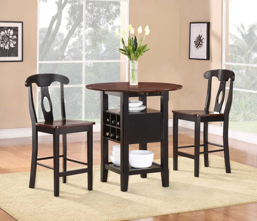 ATWOOD COUNTER HEIGHT TABLE 3 PCS SET-2505BK