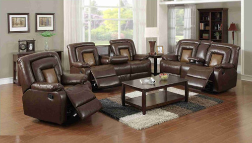 3 Pcs 2 Tone Recliner Living Room Set  SOFA LOVESEAT SINGLE RECLINER
