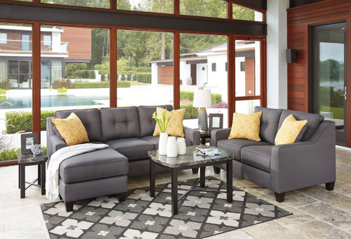 ALDIE NUVELLA GRAY COLLECTION SOFA CHAISE AND LOVE SEAT 2 PCS SET