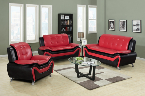2PC KAZAN SOFA AND LOVESEAT IN BLACK AND RED-HH8163