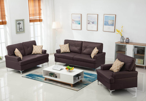3PC SKYHOUSE SOFA, LOVESEAT, AND CHAIR IN BROWN-HH-SKYHOUSE-BRW