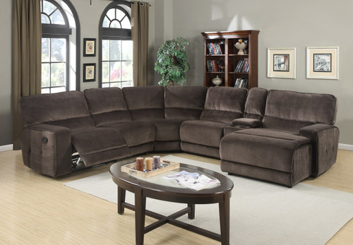 6PCS SIGNATURE RECLINING SECTIONAL OVERSIZED IN CHAMPION CHOCOLATE FABRIC -HH-SIGN-SECT