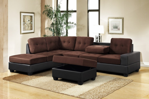 3 PCS HEIGHTS THICK FABRIC &  BONDED LEATHER SECTIONAL WITH DROP DOWN CUP HOLDER WITH OTTOMAN IN BROWN