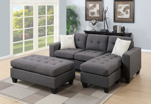 ALL-IN-ONE BLUE GREY SECTIONAL SET WITH OTTOMAN-F6920
