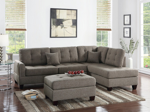 3PCS COFFEE COLOR SECTIONAL SET WITH OTTOMAN-F6504