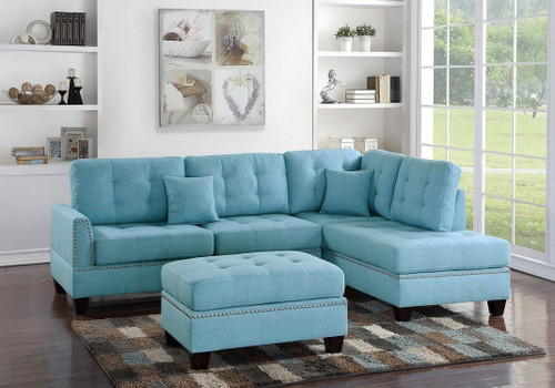 3PCS BLUE COLOR SECTIONAL SET WITH OTTOMAN-F6505