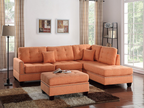3PCS CITRUS COLOR SECTIONAL SET WITH OTTOMAN-F6506