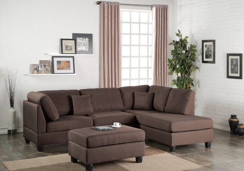 3PCS CHOCOLATE SECTIONAL SET WITH OTTOMAN-F7608