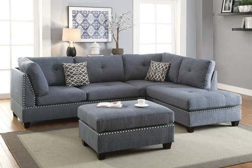 3PCS BLUE GREY SECTIONAL/NAILHEAD WITH OTTOMAN-F6975