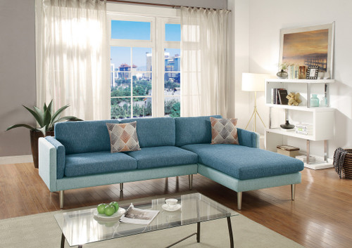 2PCS BLUE / AQUA SECTIONAL SOFA SET-F6552