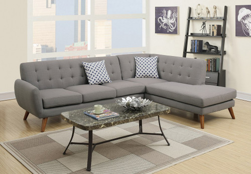 2PCS GREY POLYFIBER SECTIONAL SET-F6953
