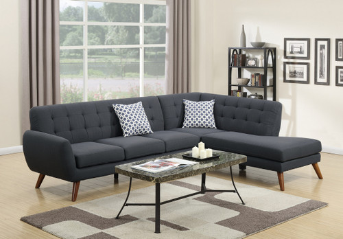 2PCS ASH BLACK SECTIONAL SET-F6954