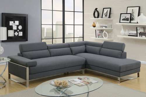 2PCS CHARCOAL SECTIONAL SET-F6539