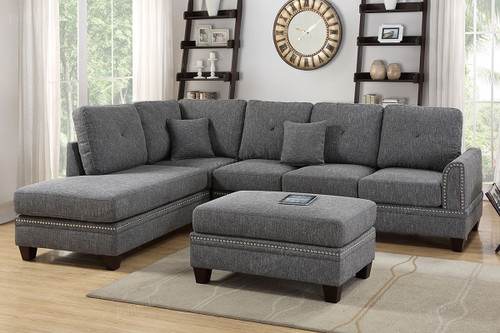2PC PAISLEY SECTIONAL SET IN ASH BLACK