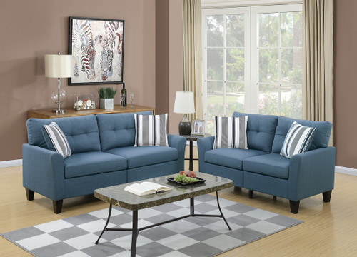 2PCS SOFA SET BLUE COLOR-F6535