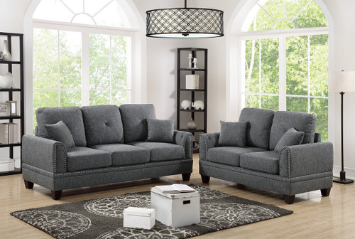 2PCS SOFA SET ASH BLACK COLOR-F6507