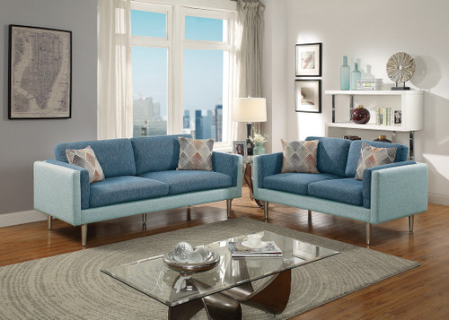 2PCS BLUE AQUA COLOR SOFA SET-F6555