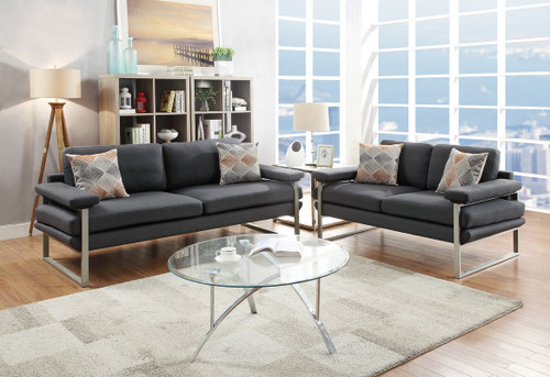 2PCS ASH BLACK SOFA SET-F6557