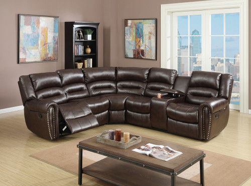 3PCS RECLINING SECTIONAL BROWN-F6744
