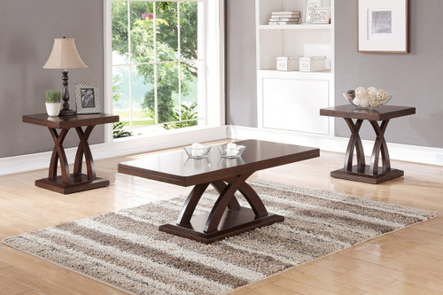 3PCS WOODEN TOP COFFEE TABLE SET-F3100
