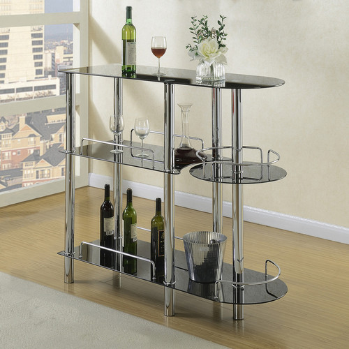 BAR STAND GLAS TOP BLACK-F2114