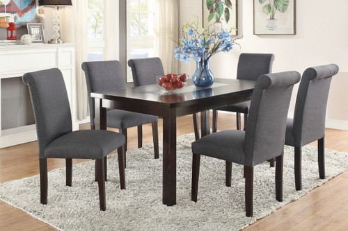 7PCS BLUE GREY DINING SET-F2366-F1543