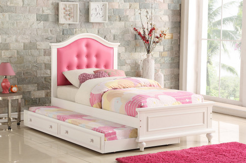 TWIN BED W/TRUNDLE PINK-F9377