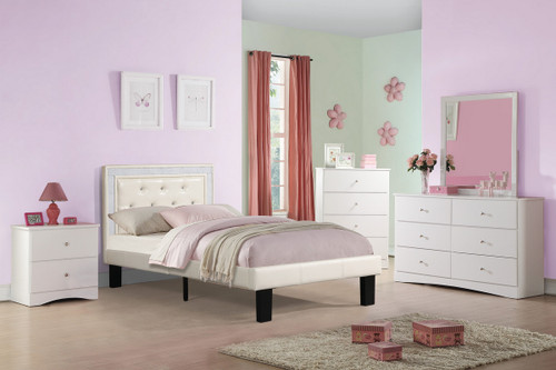 TWIN BED PU LIGHT BONE-F9374