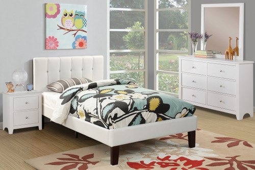 TWIN BED PU WHITE-F9358