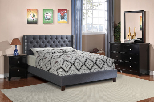 FULL BED NAILHEAD BLUE GRAY-F9371