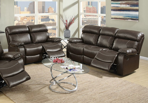 2PCS ESPRESSO SOFA AND LOVESEAT RECLINER SET-(F6719-20