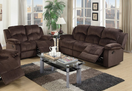 2PCS CHOCOLATE SOFA AND LOVESEAT RECLINER SET-F6711-12