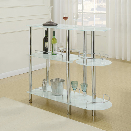 BAR STAND GLAS TOP WHITE-F2120