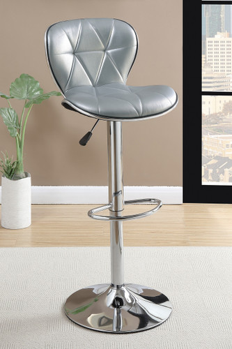 ADJUSTABLE FAUX LEATHER BAR STOOL SILVER 2 PCS SET-F1623