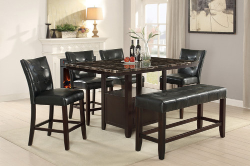 5PCS MARBLE TOP TABLE DINING SET-F2461-F1754
