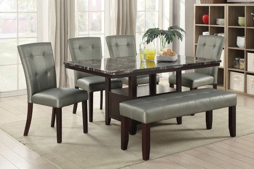 5PCS MARBLE ESPRESSO TOP TABLE DINING SET-F2460-F1752