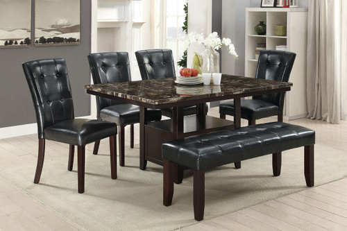 5PCS MARBLE ESPRESSO TABLE DINING SET-F2460-F1750