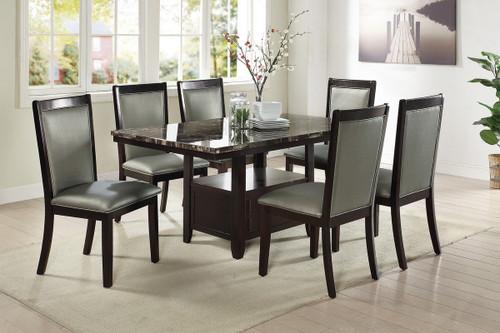 7PCS MARBLE ESPRESSO TABLE DINING SET-F2460-F1761