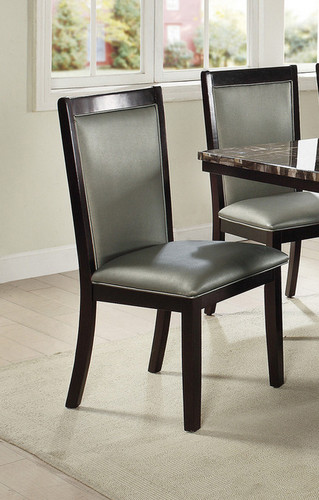 2PCS SILVER PU DINING CHAIR SET-F1761