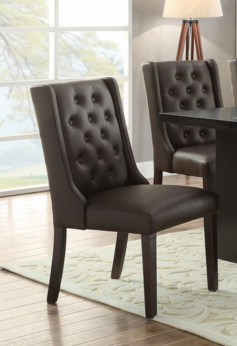 2PCS DINING CHAIR PU ESPRESSO SET-F1501