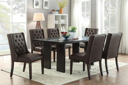 7PCS WOODEN TOP ESPRESSO DINING TABLE SET-F2367-F1501