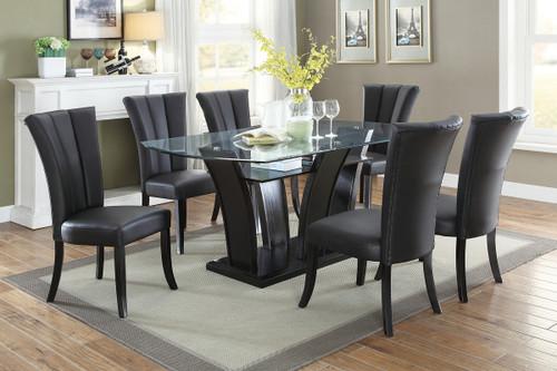 7PCS GLASS TOP ESP DINING TABLE SET-F2153-F1591