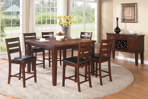 7PCS WALNUT WOOD COUNTER HEIGHT TABLE SET-F2208-F1297
