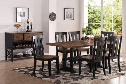7PCS DARK BROWN DINING TABLE SET-F2323-F1571