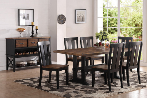 DARK BROWN WOOD FINISH DINING TABLE-F2323