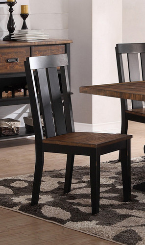 2PCS DARK BROWN DINING CHAIR SET-F1571