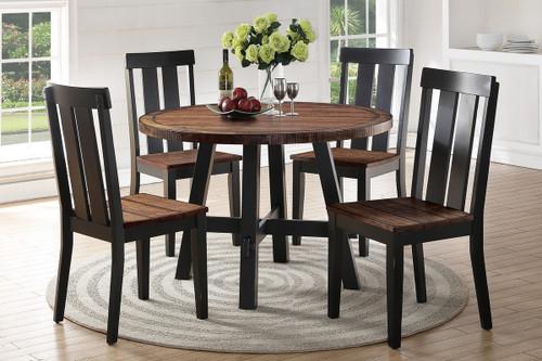 5PCS DARK BROWN ROUND DINING TABLE SET-F2322-F1571